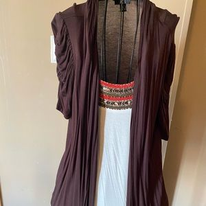 Beaded shirt with brown cover up